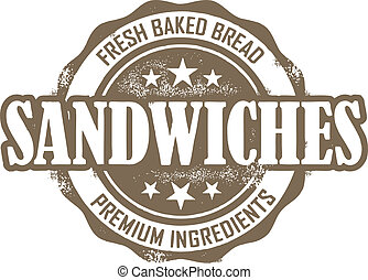 Vintage style stamp for delicatessen sandwiches.