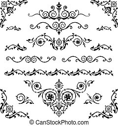 Vector set of floral decorative elements and flourishes, elements are individually grouped for easy editing and color change.