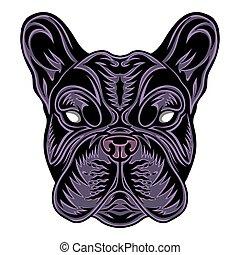 Vintage Dog French bulldog face. Heading vintage style Isolated on a white background.
