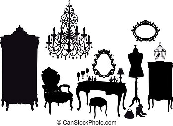 dressing room with antique furniture, vector background
