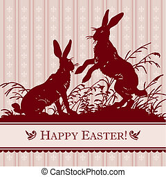 vintage easter card with antique engraving, scalable and editable vector illustration;