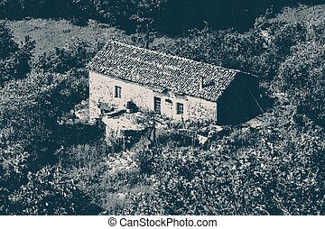 vintage engraving style illustration of a rural house