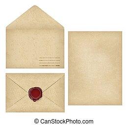 Vintage envelope, letter paper, wax seal flat set