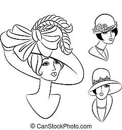 Vintage fashion girl in hat.