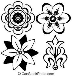 Vintage floral decorative elements for design (vector)