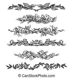 Vintage floral page dividers