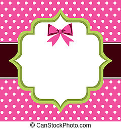 Vintage Frame, polka dot background with blank template and copy space for greetings card or photo frame.