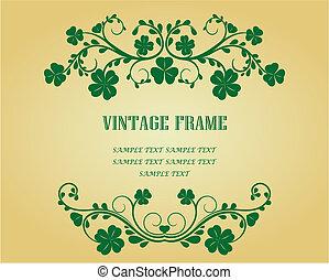 Vintage frame with clover
