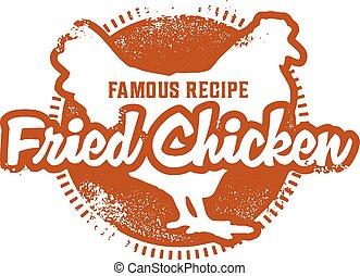 Vintage Fried Chicken Stamp