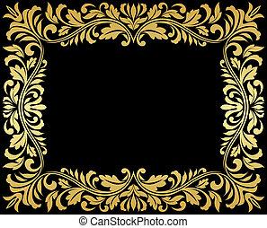Vintage gold frame with floral elements