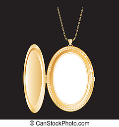 Vintage oval engraved gold keepsake locket, chain necklace, isolated on black background. Copy space for picture or text. EPS8 in groups for easy editing.