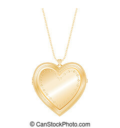 Vintage embossed gold heart keepsake locket with detailed engraving, chain necklace, isolated on white. EPS8 compatible.