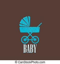 vintage illustration with a baby pram