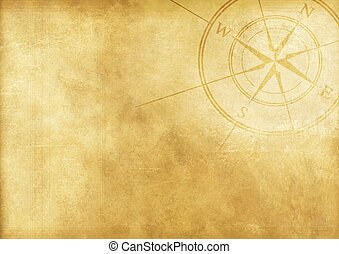 Vintage Journey Background with Compass Rose. Aged Paper Background.