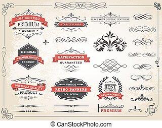 Vintage Label Ornament Divider Vect