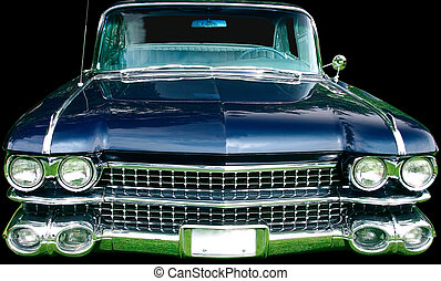This is the front view of a vintage luxury automobile.