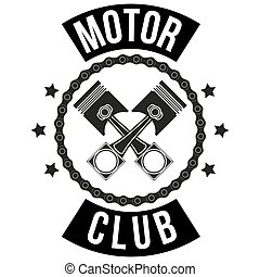 Vintage Motor Club Signs and Label with chain and pistons. Emblem of bikers and riders.