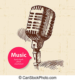 Vintage music background. Hand drawn sketch illustration