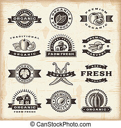 A set of fully editable vintage organic harvest stamps in woodcut style. EPS10 vector illustration.