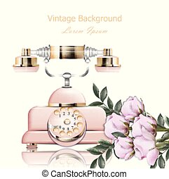 Vintage pink phone Vector. Retro illustration in realistic styles
