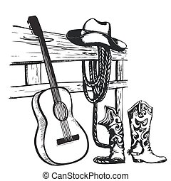 Western country music poster with cowboy clothes and music guitar background for text
