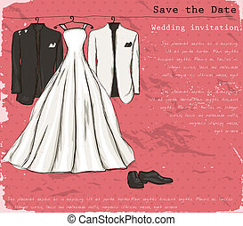 Vintage poster with with a wedding dress.