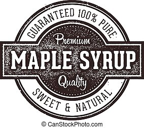 Vintage style rubber stamp image for pure maple syrup
