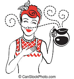 Vintage or retro 1950s mom, mother or woman holding coffee pot clip art