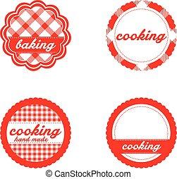 Vintage retro bakery labels, red gingham