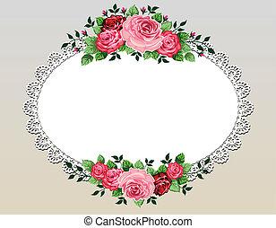 Vintage roses bouquet frame