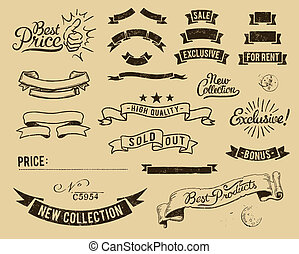 Vector file has 3 layers: 1-background 2-shapes (ribbons, banners, stamps and marks) 3-broken effect