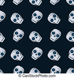 Vintage seamless pattern with mexican decoration skull elements. Navy dark blue background.