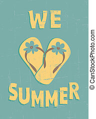 Grungy summer poster. Summer vacation concept.