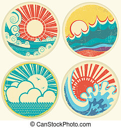 vintage sun and sea waves. Vector icons of illustration of seascape