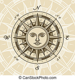 Vintage sun compass rose in woodcut style. Vector illustration with clipping mask.