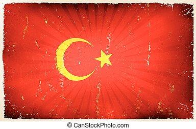 Vintage turkey Flag Poster Background