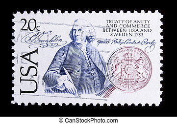 """UNITED STATES - CIRCA 1983: depicting coin and man, inscription """"Treaty of Amity and Commerce between USA and Sweden 1783"""", value 20c , circa 1983"""