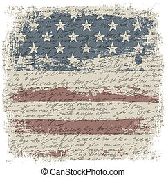 Vintage usa flag background with isolate grunge borders. Vector illustration, EPS10