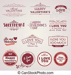 Set of vintage Valentine's day labels