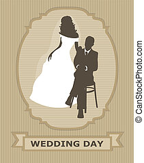 invitation with bride and groom