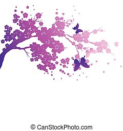 violet silhouete, flowers tree , on a white