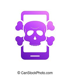 Virus Alert Icon. Smartphone with Virus. Cyber Attack Alert Icon with Skull. Phishing Scam concept. Hacker Attack, Phishing and Fraud. Vector illustration.