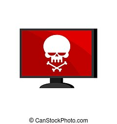 Virus in computer. Skull on monitor. Cyber attack for pc. Death information. Blocked Data processor does not work. Vector illustration