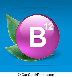 Vitamin B12 with green leaves as concept