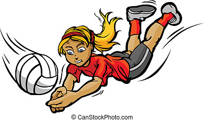Vector Image of Female Volleyball Player Diving for a Volleyball