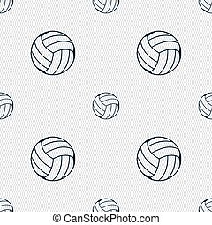 Volleyball icon sign. Seamless pattern with geometric texture. Vector