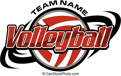 volleyball team design with ball and swishes for school, college or league