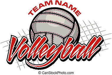 volleyball team design with volleyball and net