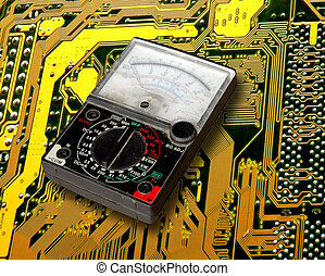 volt meter on electronic circuit board