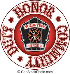 Volunteer Firefighter Duty Honor is an illustration of a firefighter%u2019s or fireman%u2019s badge or shield. Includes a Maltese cross and firefighter tools logo inside of a shield shape and text that says Duty, Honor and Community.